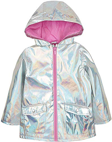 Baby Girls Holographic Silver Jacket Showerproof Rain Coat Mac 9-12 Months to 5-6 Years (18-24 Months)