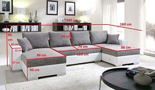 tendencio Canapé d'angle Convertible panoramique 5 à 6 Places Enno Tissu et Simili Cuir Noir
