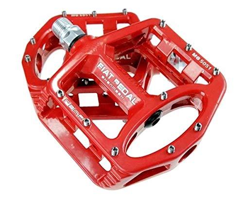 Evetin Ultra-Light Plattform Mountainbike/MTB/Flat Pedale, Magnesium Trekking Pedale Fahrrad mit Achsendurchmesser 9/16 Zoll für Universell BMX Mountain Bike Rennrad Trekkingrad 5051-1 (Rot)