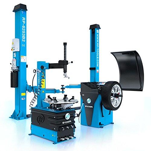 Hebebühne Reifen Montiermaschine und Wuchtmaschine RP-R-6253B2V-282-400V RP-R-U200PN-400V1S und RP-R-U100PN im Set