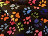 Such Textiles Black Paw Print Polar Fleece Fabric (Per Metre)