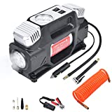 GSPSCN Portable Tire Inflator, Dual Cylinder Air Compressor Pump with Emergency Light, 12V Air Pump for Car Tires,150 PSI Heavy Duty Powerful Tire Pump with Locking Air Chuck for Auto,SUV,Truck,RV