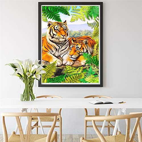 DIY 5D diamante pintura kit completo, Paisaje de pájaro tigre Diamond Painting adult/niño dot cristal Rhinestone punto de cruz bordado art decor de la pared del hogar Round Drill,80x100cm(32x40in)