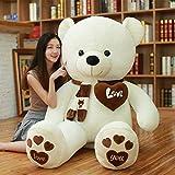 AMIRA TOYS ぬいぐるみ 特大 くま 可愛い熊 動物 大きい くまぬいぐるみ 抱き枕 お祝い ふわふわ (ホワイト, 120cm)