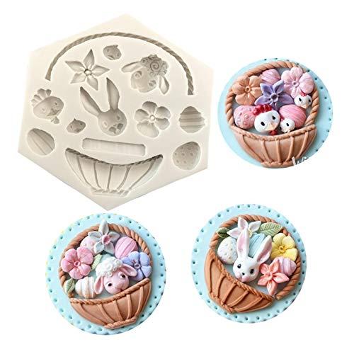 XZMAN 3D Blumenkorb Silikonform, Easter Bunny Egg Mold Osterhasen-Eierform Schokoladenform Osterhasen-Blumenkorb-Form 3D-Silikonform Für Kuchendekoration