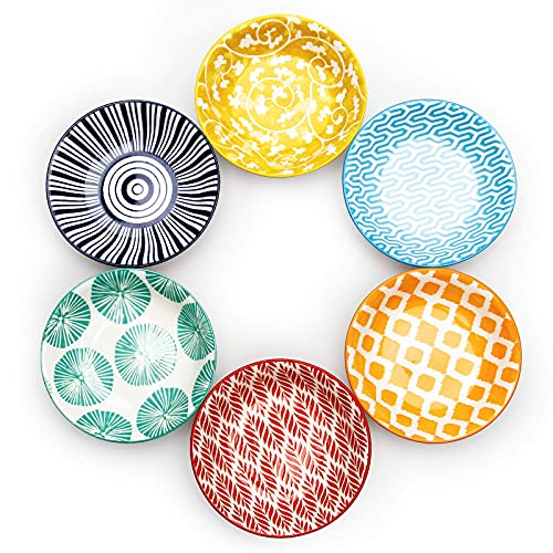 KitchenTour 2.5 Oz Dipping Sauce Bowls, Porcelain Soy Sauce Dish for Seasoning, Sushi, Appetizer, Vinegar, Ketchup, BBQ - Unique Pattern Dipping Bowls(Set of 6)