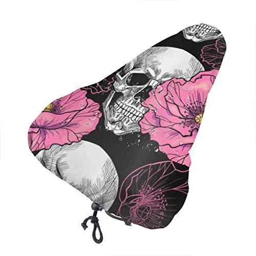 Sugar Flower Skull Pink Poppy Flower Coprisedile per Bici Sella per Bicicletta Copertura Antipioggia con Coulisse Elastica