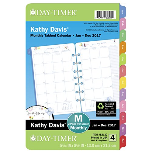Day-Timer Planner Refill 2017, 2 Page Per Month, 5-1/2 x 8-1/2', Unruled, Desk Size, Kathy Davis (52132)