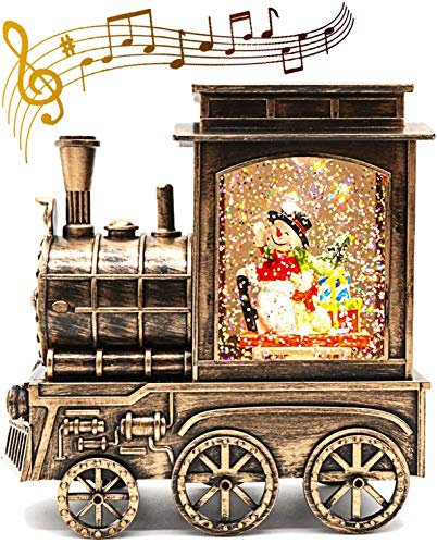 Christmas Lighted Water Lantern Glittering, Musical Xmas Snow Globe Battery Operated & USB Powered, Singing Water Globe with 8 Songs & 6 Hr Timer for Kids, Scene Snowman in Bronze Train for Home Decor