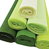 Just Artifacts 70g Premium Crepe Paper Rolls - 8ft Length/20in Width (6pcs, Color: Shades of Green)