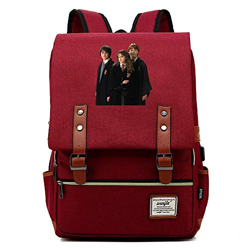 NYLY Mochilas Casual Friends Harry Potter Backpack Mochila de Estudiante Adolescente Bolsa de Almuerzo Escolar Bolsa de Tableta Unisex Vino Tinto