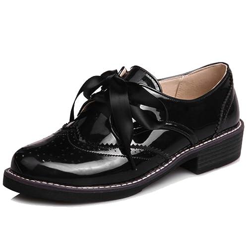 a732858612 HiTime Women's Classic Lace up Patent Leather Brogue Shoes Girls School  Uniform Dress Oxfords Size 2