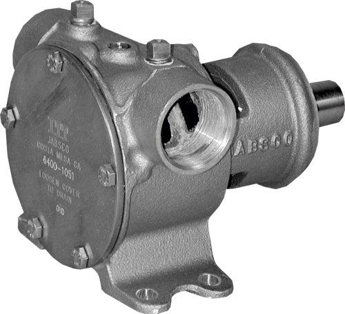 Jabsco 6400–1051marine Pulley Driven Flexible impeller Pedestal Mount Pump (62-gpm, neoprene impeller, Full Cam, Mechanical Seal, 3,2cm NPT Horizontal Port, short shaft for Caterpillar Engines), bronzo