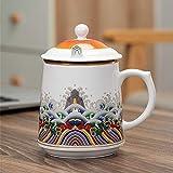 Rufun Tazza con Coperchio Tazza di separazione dell'Acqua da tè Ufficio per riunioni di Uomini e Donne per Regali di Compleanno-Filtro Tazza da tè_420ML