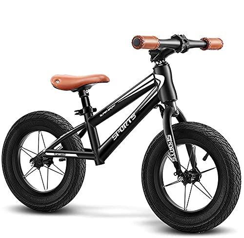 YQCH Bicicleta Grande/Equilibrio en Blanco Grande para niños Grandes, sin pedalear Bicicleta de Bicicleta para niños/niñas 6, 7, 8 años, Asiento Ajustable, Carga 80kg (Color : Black, Size : 12inch)