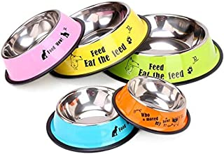 Nonslip Color Stainless Steel Pet Bowl, Spray Paint One Piece Pet Bowl Food Bowl Cartoon Thick High Temperature Corrosion Resistant Environmental Protection Material Cute Teddy Schnauzer