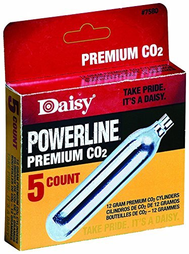 Daisy Outdoor Products, Powerline CO2 Cartridges, Per 5 (Improved/ 5 Count 12 gm CO2 cylinders)