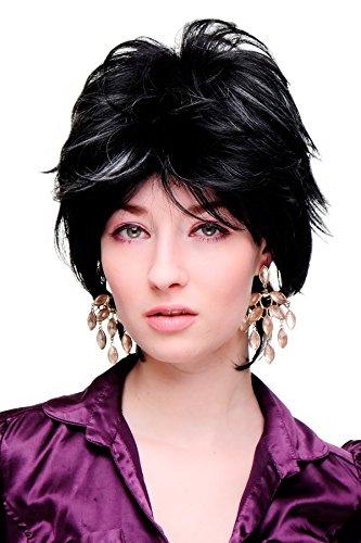 WIG ME UP - Perruque dame cosplay sauvage courte platine/argent/blanc sur noir SA069-1BH1001