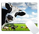 Wknoon Funny Milk Cow Gaming Mouse Pad,Milk Cow Pasture Meadow Grassland Non-Slip Rubber Large Mouse Mat
