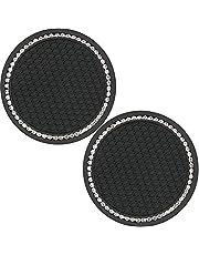 Auto Cup invoegen Coasters Anti Slip bekerhouder Crystal Cup Pad Insert Mat Auto Interieur Accessoires 2PCS Black