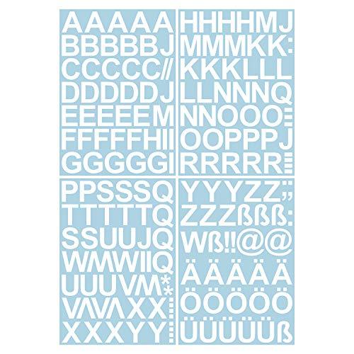 Leicht anzubringende Buchstaben Aufkleber 4cm weiß glänzend - 150 HOCHWERTIGE KLEBEBUCHSTABEN - Buchstaben zum aufkleben abc Alphabet - Wasser und wetterfest ideal für den Außenbereich