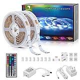 Sunity Striscia LED 10 Metri, Strisce LED 10 Metri con 44 Tasti Telecomando, Non Impermeabile LED Strip Light 10 Metri 12V, per Decorazioni, Cucina, Bar, Festa