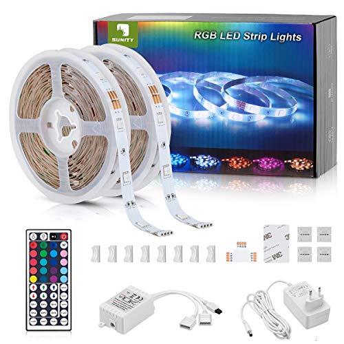 Tira LED RGB, Sunity Tiras LED 10 Metros RGB con Control Remoto de 44 Botones y Caja de Control, Tira de LED 5050 SMD LEDs 20 Colores 8 Modos y DIY para la Habitación, Dormitorio,12V