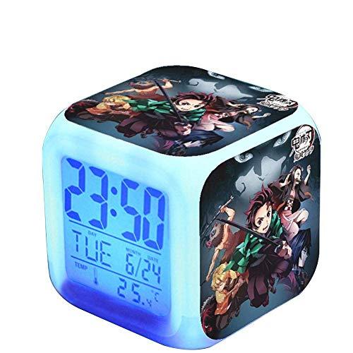 Ailin Online Demon Slayer Alarm Clock, 7 Gekleurde LED Digitale Verlichte Wekker met Tijd, Alarm, Datum, Dag van de Week, Batterijen Bediend