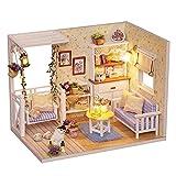 CUTEBEE Miniature avec des Meubles de Maison de poupée, kit DIY Dollhouse en Bois Ainsi Que la poussière et Le Mouvement de la Musique, 1:24 Salle créative pour l'idée Cadeau Saint Valentin
