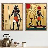 VUSMH Vintage Egipto Lienzo Pintura Escarabajo Egipto Dios póster Impresiones Antiguo Soldado Egipcio Cuadros artísticas de Pared para Salon de Estar Decoracion del hogar 50x70cmx2 sin Marco