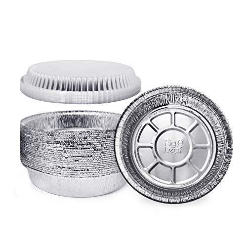 (60 Pack) Premium 7-Inch Round Foil Pans with Plastic Dome Lids l Heavy Duty l Disposable Aluminum Tin for Roasting, Baking, or Cooking