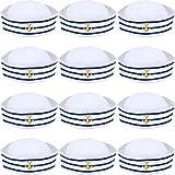 Syhood Sombreros de Azul con Blanca Gorro Marino Marinero para Accesorio de Vestuario, Fiesta de Disfraces (12 Paquetes)