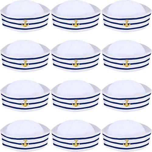 Syhood Kapitänsmütze Blau mit Weißen Segelhüten Matrosenhut Marine Seemann Hut für Kostüm Zubehör, Anziehparty (12 Packungen)