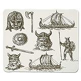 Yanteng Tappetino per Mouse da Gioco Viking, Figure da Guerra antiche Scudo Spada e Maschera da Guerriero Nave Testa di Drago Medievale, Bordo Marrone Scuro Cucito Bianco