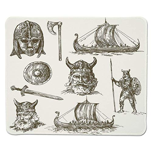 Tappetino per mouse da gioco Yanteng Viking, figure da guerra antiche Scudo spada e maschera da guerriero Nave testa di drago medievale, bordo marrone scuro cucito bianco