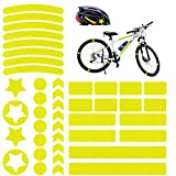 Adhesivos Reflectantes, 42 pcs Pegatinas Reflectantes Casco Moto, Pegatinas Reflectantes Bicicleta para Bicicleta/Cochecito/Casco/Moto/Motocicleta, Visibilidad de Noche (Amarillo Fluorescente)