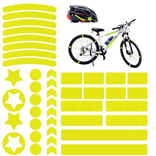 Adhesivos Reflectantes, 42 pcs Pegatinas Reflectantes Casco Moto, Pegatinas Reflectantes Bicicleta para...