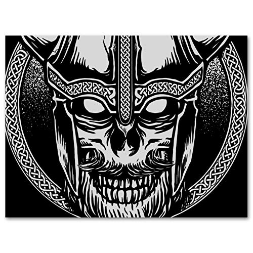 DFSDFG Viking Skull Oil Painting Colorful Wall Decorative Canvas Art Pictures with Framed Oil Drawing Posters