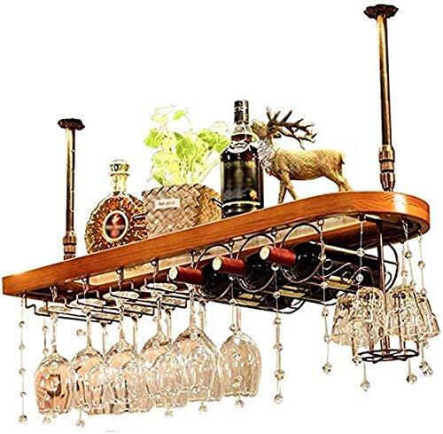 TUHFG Botellero para amantes del vino o para montar en la pared, barra colgante de cristal, soporte para botellas para colgar, color rojo, blanco, champán, para el hogar y la cocina, 80 x 28 cm