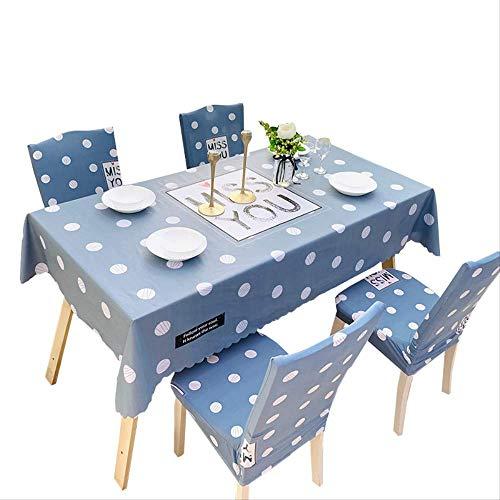 Tafelkleed Eenvoudig bedrukt blauw stippen Huishoudelijk spatwaterdicht en wasbaar tafelkleed (rechthoekig, 55 x 78 inch)