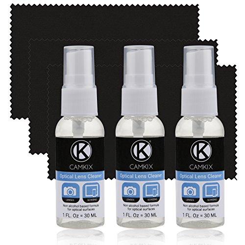 Camkix Objektiv und Bildschirm Reinigungs Kit - Reinigungsspray, Mikrofasertuch – Perfekt für die Reinigung des Kameraobjektivs Ihrer DSLR oder GoPro– Auch hervorragend geeignet für Ihr Smartphone, Tablet, Laptop, etc.