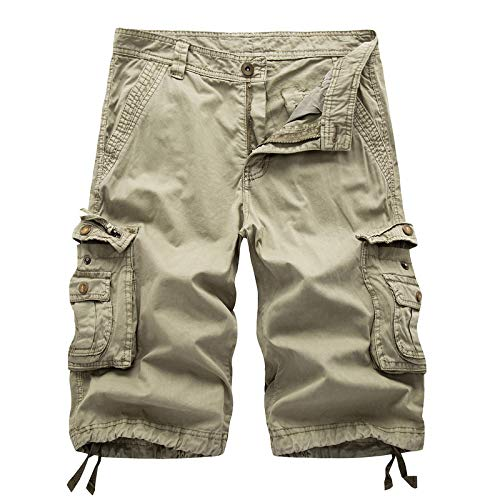 EMPERSTAR Pantaloncini da bagno da uomo Pantaloncini cargo leggeri Pantaloni da lavoro in cotone da esterno con tasche multiple Cachi 36