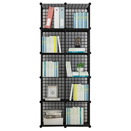 JCNFA Boekenkast, modern, industrieel boekenrek, display plank, cubes Storage Organizer, metalen frame, speelgoedkast, Multi-Grid 10 grid 29.92 * 14.56 * 72.04in zwart
