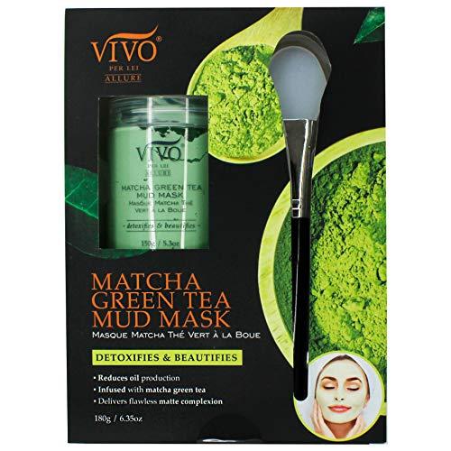 Matcha Green Tea Mud Mask - Detox Mask with Sea Mud, Kaolin Clay - Green Tea Mask for Oily Skin - Matcha Mask to De-stress, Detox and Glow - 180g/ 6.35 oz