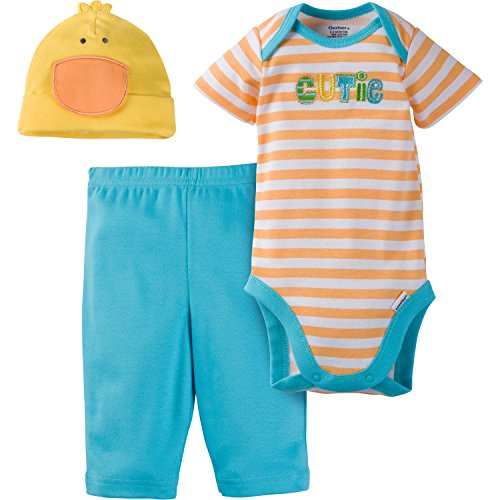Gerber - Conjunto de body de 3 piezas, pantalón y gorro para niña - Rosa - 6-9 meses