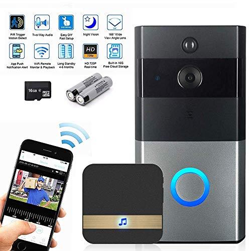 Kowba - Campanello senza fili per videocitofono, chiamate in tempo reale e video in tempo reale, visione notturna, rilevamento movimento PIR e controllo app per iOS, Android (con scheda Chime 16G e batteria)