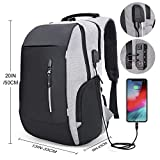 Mochila antirrobo, mochila Daypack 35L con conector de auriculares con interfaz de carga USB y candado con contraseña, mochila al aire libre para negocios de hombres y mujeres, mochila para portátil de 12-16 pulgadas, estudiante