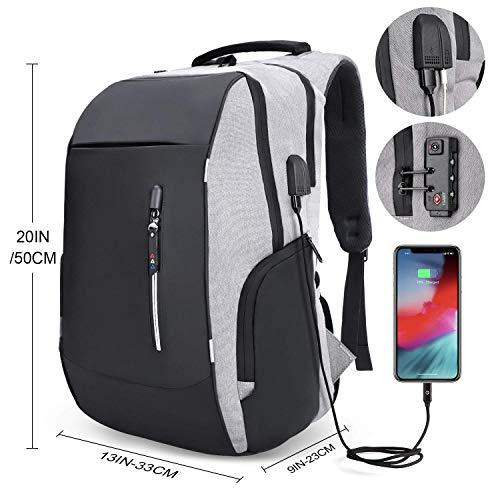 Mochila antirrobo, mochila Daypack 35L con conector de auriculares con interfaz de carga USB y candado…