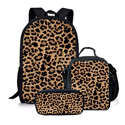 Amzbeauty Leopard Print Backpack with Lunch Bag Pencil Case, 3 Pcs Bookbags Sets, Best Gifts for school children/ Kids/ Boys/ Girls