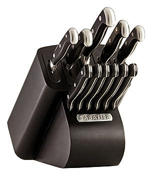 Sabatier Self-Sharpening Edgekeeper Pro 12-Piece Forged Triple Rivet Knife Block Set Black -